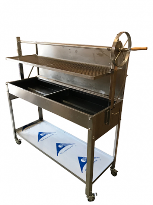 Extra Large Stainless Steel Commercial Charcoal BBQ with Argentinian Grill Height Adjustment